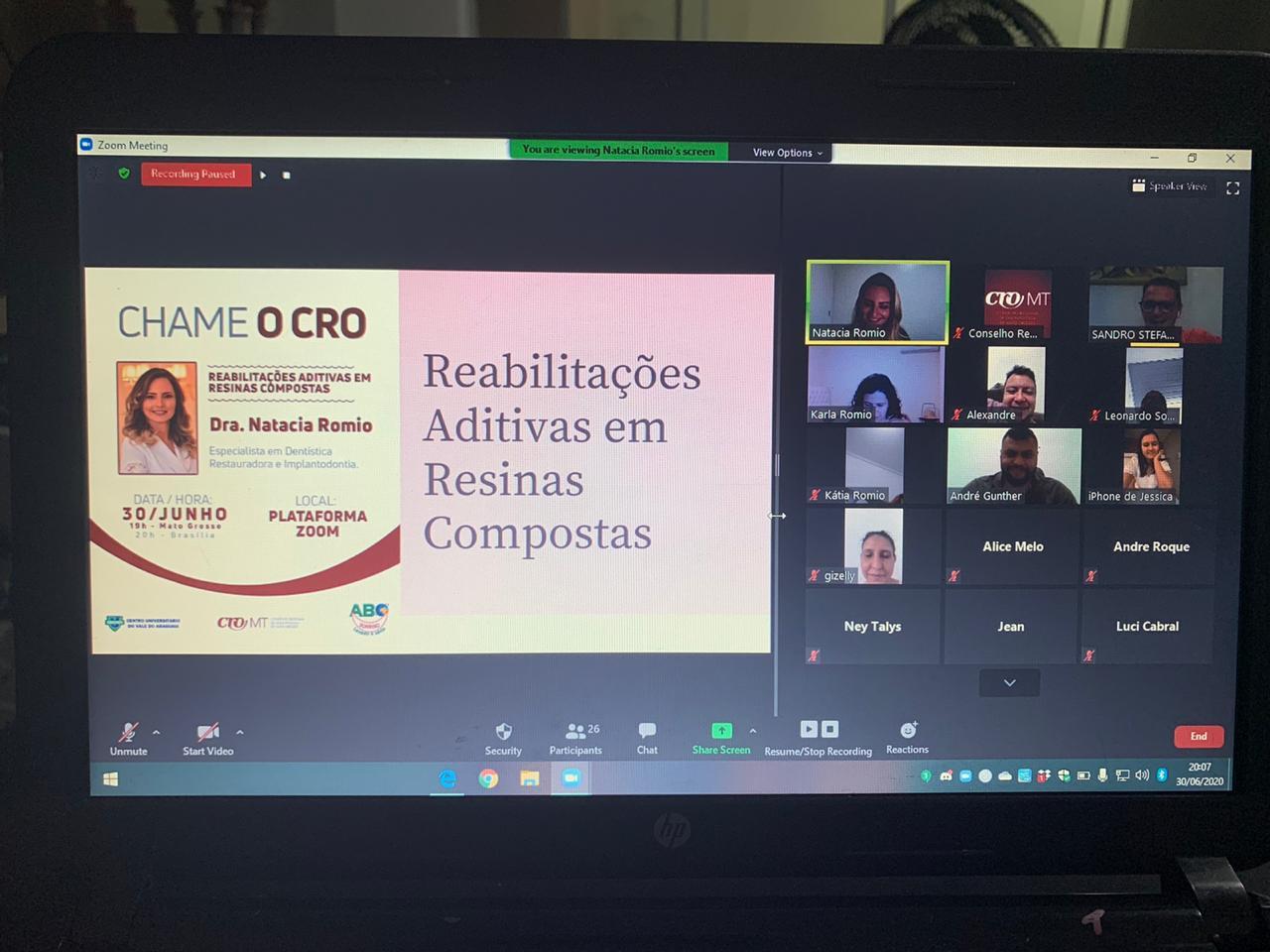 Chame o CRO na versão on-line reúne mais de 60 pessoas