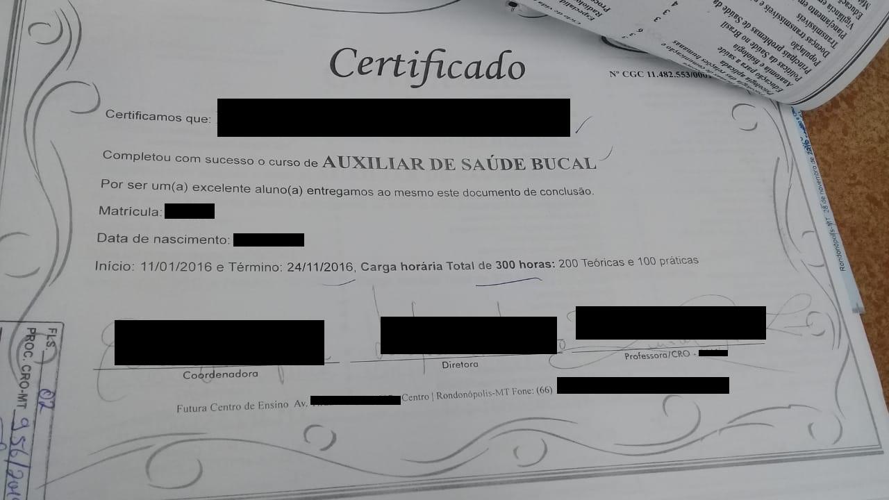 CRO-MT autua dentista que emitia certificados falsos